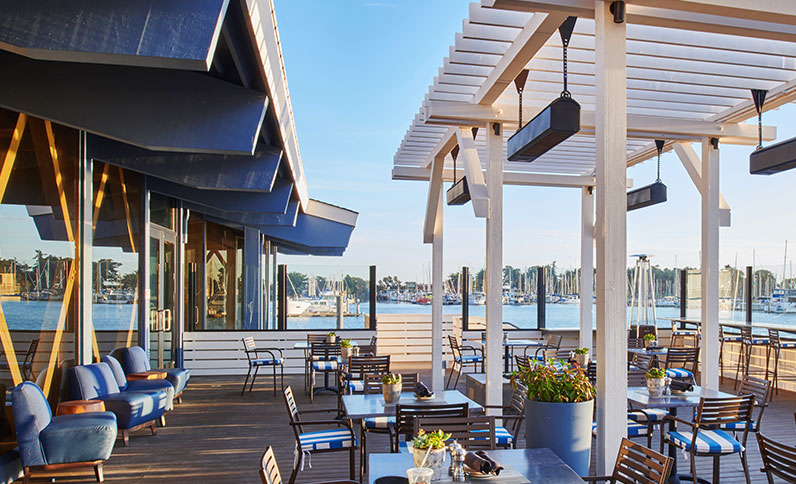 Outdoor dining with a view of the Bay