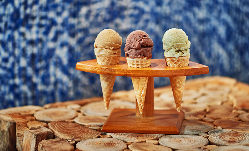 Ice creams at the restaurant