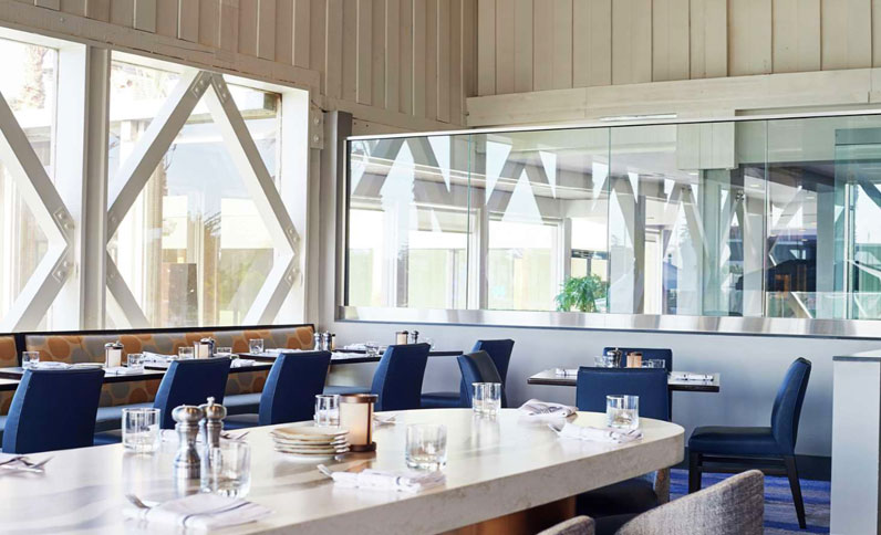Indoor seating at Berkeley Boathouse