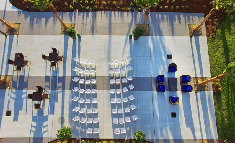 Top view of event space at Berkeley Boathouse
